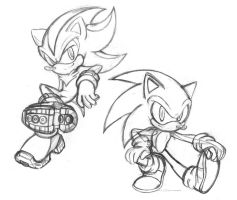 sonic and shadow doodles by chibi-jen-hen