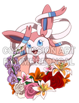 Commission: Sylveon with Flowers by UmbreonGal