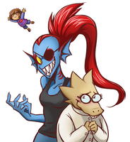 Undertale Undyne and Alphys by Tamura