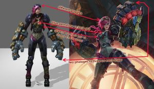 Vi (League of Legends) reference differences by ShinjusWorkshop