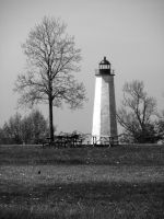 Lighthouse Point New Haven CT Monocrhrome by davincipoppalag