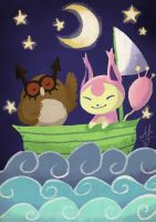 The Hoothoot and the Skitty-cat by ditto9