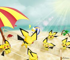 Pichu's Summer at the Beach by Lat3mur