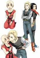 Female Krillin and the twins by pinki100