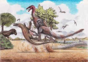 Don't mess with ornithomimids by Xiphactinus
