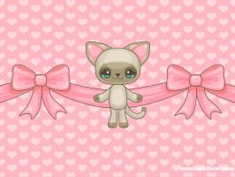 Kawaii Kitty Wallpaper by bombthemoon