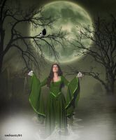 Moonwoman with little birds by rembrantt