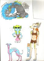 Character badges/drawings by jabbershire-cat