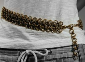 Japanese Flower Chainmail Belt by xMeisianx