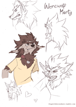 Werewolf Morty Doodles! by AnInnocentDemon