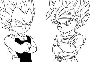 BAW: vegeta jr and goku jr by DrabounZ