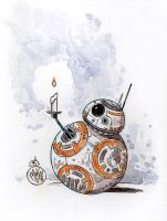 Watercolor: BB-8 (Christmas Eve themed) by mikemaihack