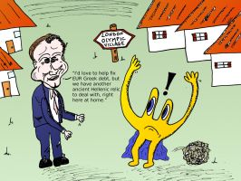 Euroman and David Cameron caricature by optionsclickblogart