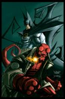 Batman and Hellboy by dcjosh