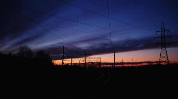 Sunset on the railway by Belolis
