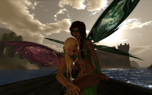 Canned and Xami in a boat by TERABBS