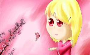 Sakura and butterfly by ChoMix97