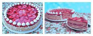 Strawberry and Banana Cake by BaziKotek