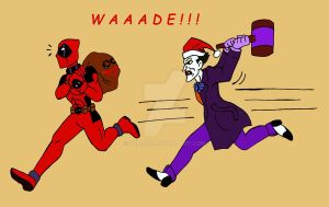 Deadpool and Santa Joker by xero87