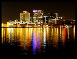 Waterside Marina at Night by Deliciaa