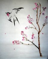 Swallow and Cherry Blossoms by liralenli