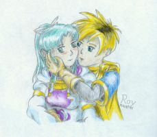 Golden Sun - Isaac, Mia Shy by PrinceRoy1990