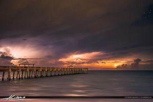 Raging-Sea-at-Night-along-the-Juno-Beach-Pier-Flor by CaptainKimo