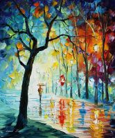 Clear night oil painting on canvas by L.Afremov by Leonidafremov