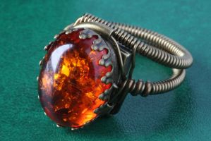 Steampunk Jewelry - Ring - Amber by CatherinetteRings
