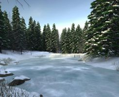 Snow Scene Premade Background by Roys-Art
