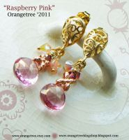 Raspberry Pink Earrings by littleorangetree