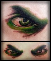 Realism Hulk Eye Tattoo by IanInkTattoo