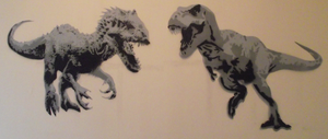 Indominus Rex and T Rex Wall Stencil by ThisUllysses