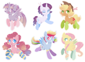 Sticker Set - Mane 6 by Rain-Ame