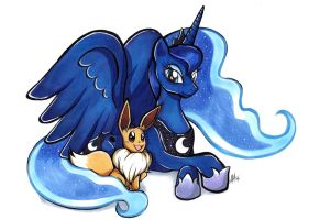 Commission: Princess Luna and Eevee by Smudgeandfrank