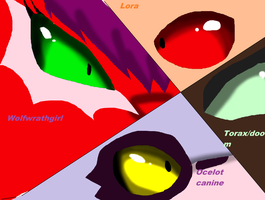 the eyes of my main ocs by wolfwrathgirl