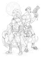 Hellboy and The Glyph! by Claudiu Limbasan! by Estonius