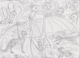 Dragon sketchdump by Gingersnap821