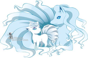 Alola vulpix and alola ninetales by LadyOfTheVoid