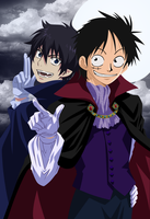 Monkey D Luffy and Rin Okumura by Narusailor