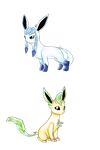 Glaceon + Leafeon by Sinister-Toaster