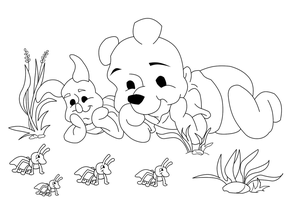 Pooh Bear and Piglet lineart by Shulky