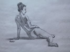 Charcoal Figure Sketch 16/100 by AngelGanev