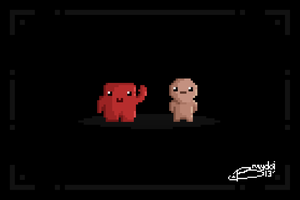 Meat Boy and Isaac by braydoi