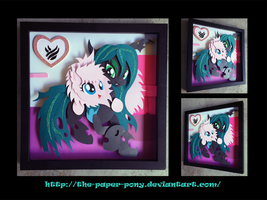 12x12 Flufflepuff and Chrysalis Shadowbox by The-Paper-Pony