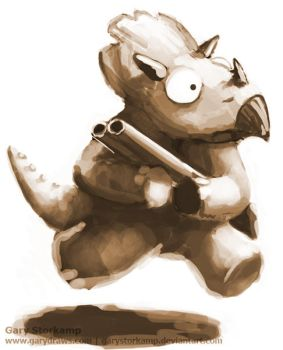 Triceratops with a Gun by GaryStorkamp