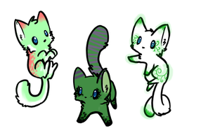 Green Kitty Adoptables (CLOSED) by Doom-Duck