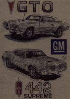 1968 Pontiac GTO and 1970 Oldsmobile Cutlass 442 by Deorse