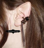 Baroque Ear Cuff with Chains by VectoriaDesigns