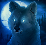 Wolf Under a Blue Moon by Dragoart